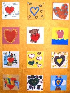 einzelne Gemälde als Herzbilder - Tafel