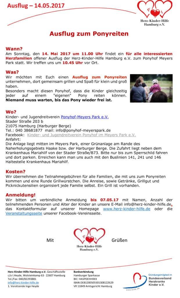 einladung zum ponyreiten - herz-kinder-hilfe hamburg e.v., Einladung