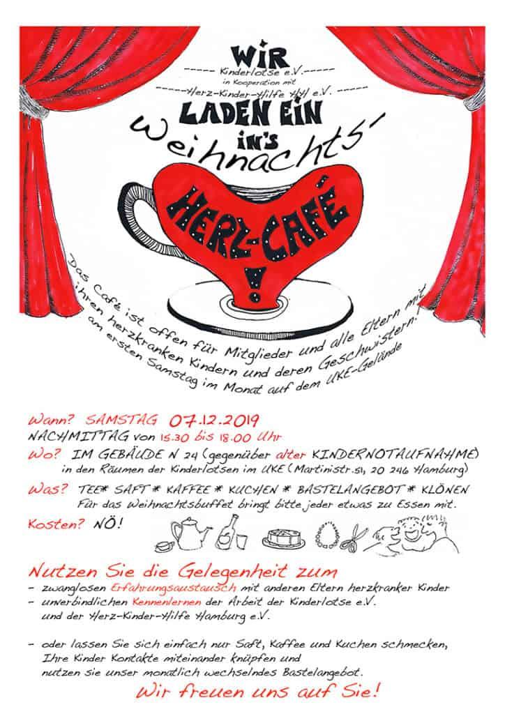 Plakat Weihnachtsfeier beim Herz-Café 2019, 07.12.2019