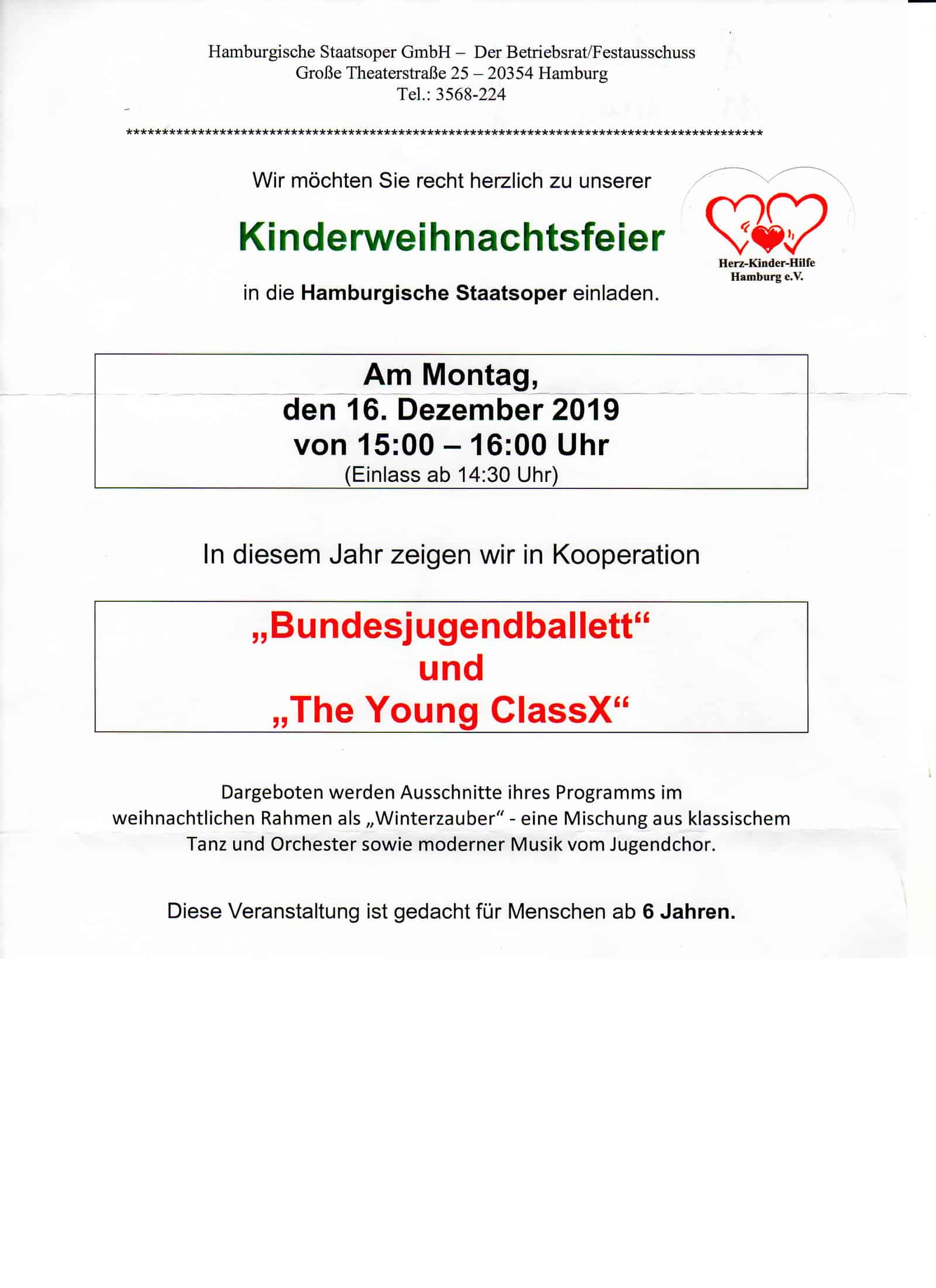 Kinder-Weihnachtsfeier in der Staatsoper 2019 - Einladung